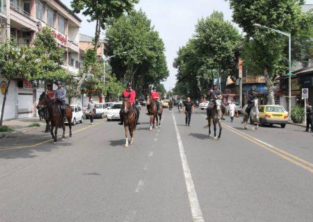 گزارش تصویری رژه هیات سوارکاری استان گیلان در شهر رشت به مناسبت روز جهانی قدس